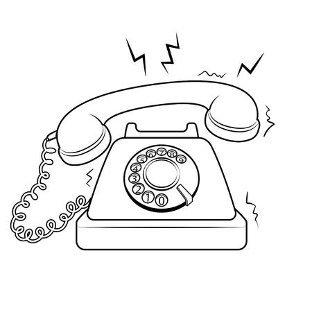 Red hot old fashioned phone metaphor coloring retro vector illustration. Isolated image on white background. Comic book style imitation.