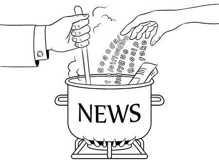 News production metaphor coloring book vector