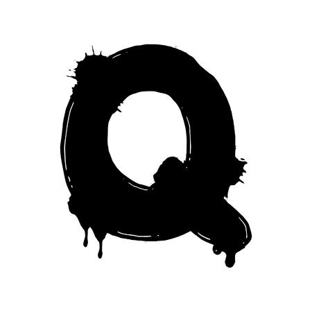 Blot letter Q vector illustration. Font alphabet art. Scratch board style imitation. Hand drawn image. Illustration