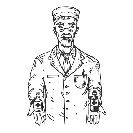 Drug chemist with potion mixture engraving vector illustration. Scratch board style imitation. Black and white hand drawn image. Imagens - 99861095