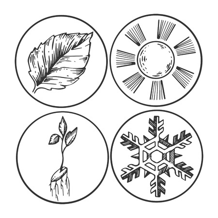 Season symbols engraving vector illustration. Scratch board style imitation. Black and white hand drawn image.