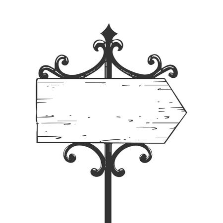 Old urban road signpost engraving vector