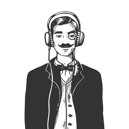 Old fashioned gentleman listening music on headphones engraving vector illustration. Scratch board style imitation. Black and white hand drawn image.