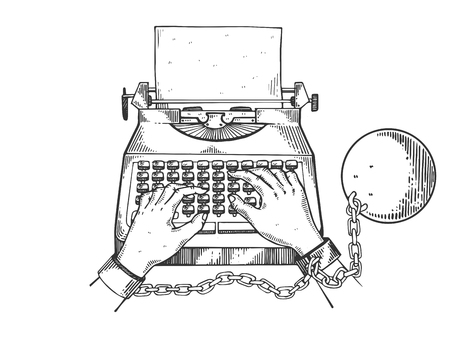 Hands chained to typewriter engraving vector Stock Photo