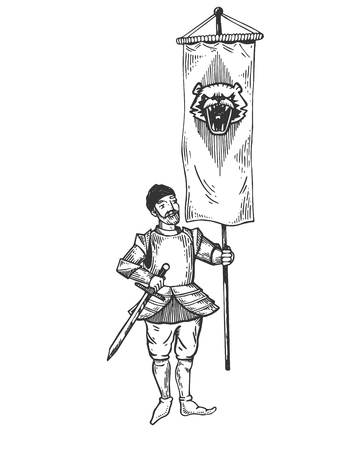 Banner bearer with standard engraving vector Фото со стока
