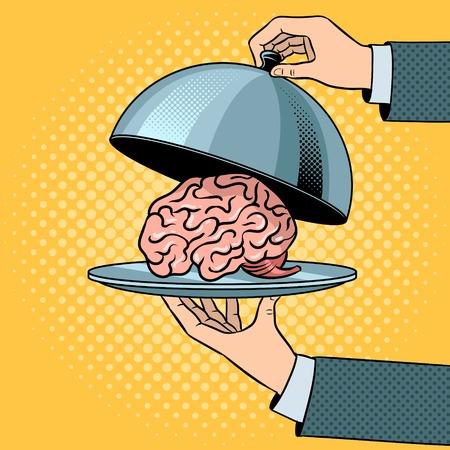 Human brain as food on dish with cloche pop art retro vector illustration. Comic book style imitation.