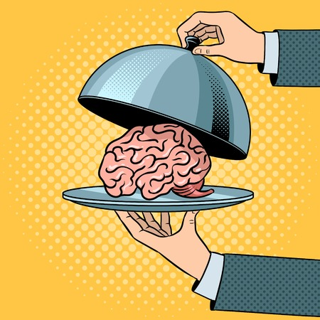 Human brain as food on dish with cloche pop art retro vector illustration. Comic book style imitation.