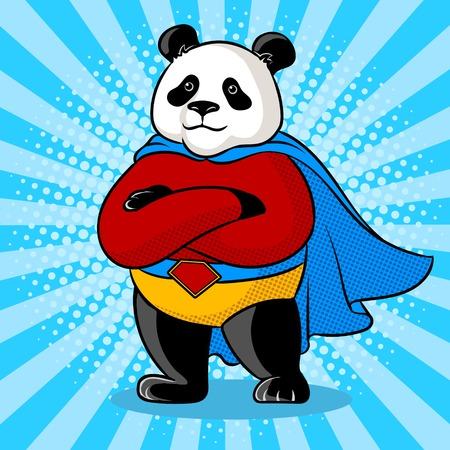 Panda superhero pop art vector illustration