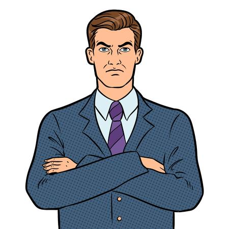 Ilustración de vector retro de arte pop empresario jefe serio enojado. Imagen aislada sobre fondo blanco. Imitación de estilo cómic.