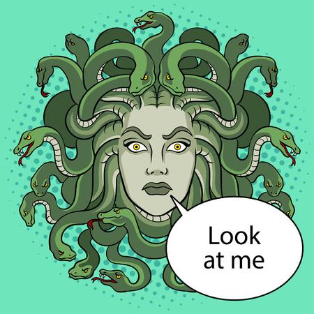 Medusa head with snakes greek myth creature pop art retro vector illustration. Color background. Text bubble. Comic book style imitation. Illustration