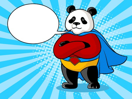 Panda superhero pop art retro vector illustration. Color background. Text bubble. Comic book style imitation.