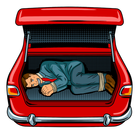 Kidnapped man in the car trunk pop art vector illustration.
