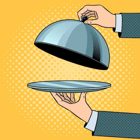 Dish plate with cloche pop art vector illustration.