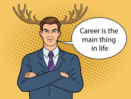 Husband businessman with deer horns pop art vector illustration. Illustration