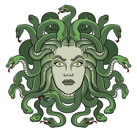 Vector de arte pop de criatura de mito griego Medusa