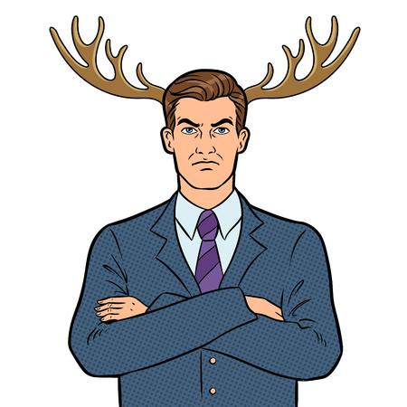 Husband businessman with deer horns pop art vector Stock Photo