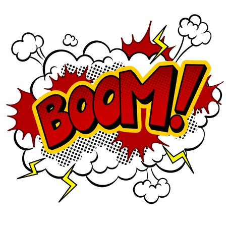 Boom word comic book pop art vector illustration Foto de archivo