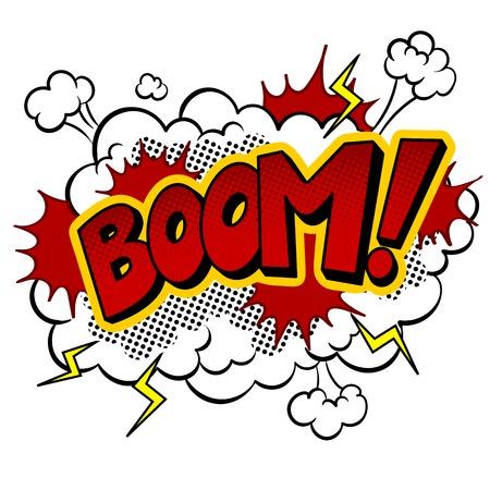 Boom-Wort-Comic-Pop-Art-Vektorillustration