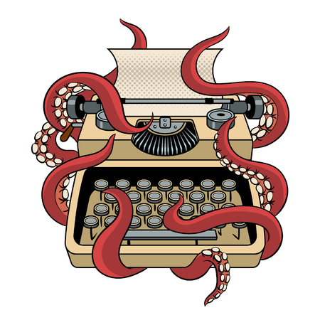 Typewriter with octopus tentacles pop art vector