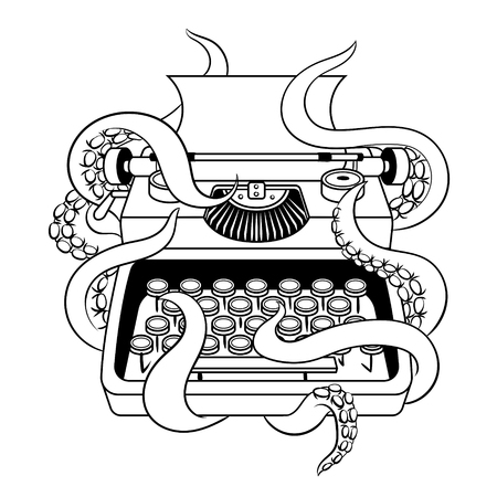 Typewriter with octopus coloring book vector Stok Fotoğraf