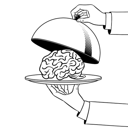 Brain on dish with cloche coloring book vector