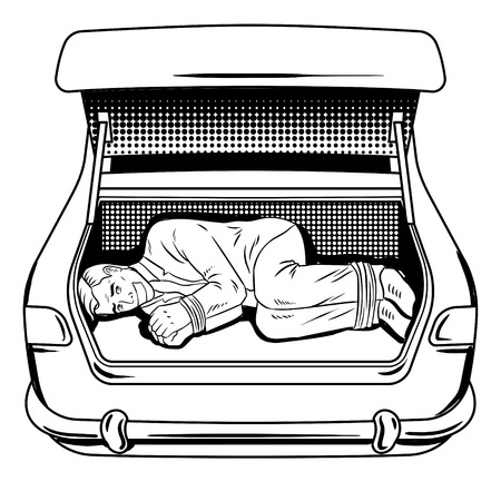 Kidnapped man in car trunk coloring book vector Stock Photo
