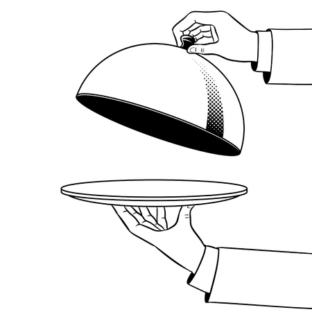 Dish plate with cloche coloring vector