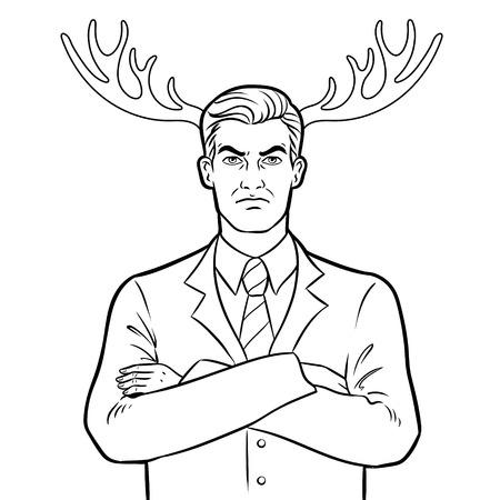 Husband businessman and deer horns coloring vector