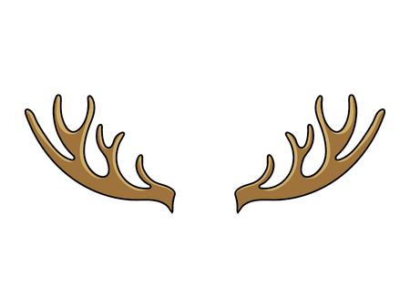 Deer horns cartoon color vector illustration