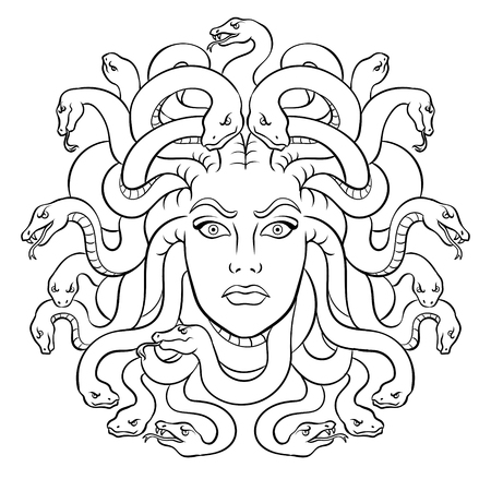 Medusa head with snakes Greek myth creature coloring vector illustration. Comic book style imitation. Vectores