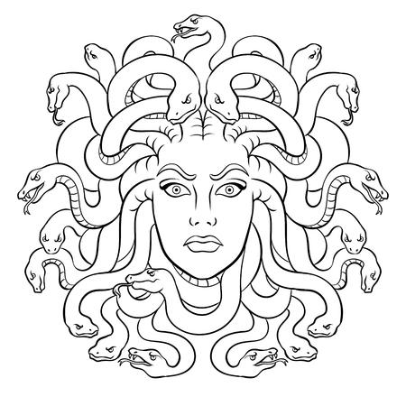 Cabeza de Medusa con serpientes criatura del mito griego para colorear ilustración vectorial. Imitación de estilo cómic.