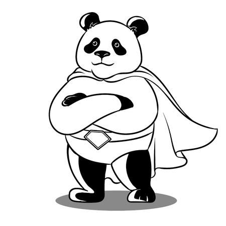 Panda superhero coloring vector illustration. Comic book style imitation.