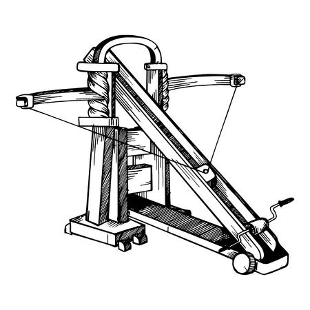 Ballista medieval weapon engraving vector