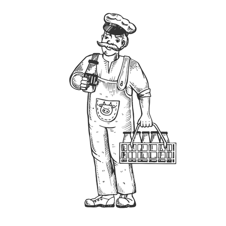 Milk man engraving vector illustration Illustration