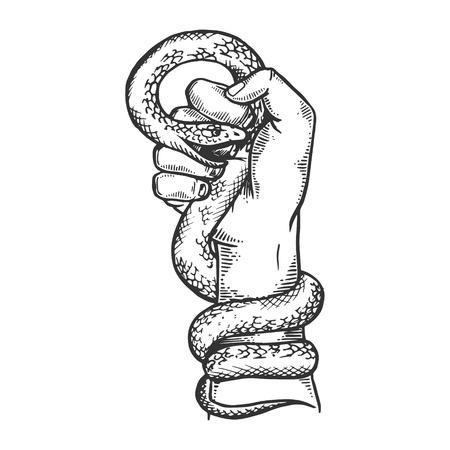 Serpiente en mano puño grabado ilustración vectorial