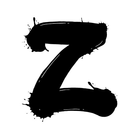 Blot letter Z vector illustration. Font alphabet art. Scratch board style imitation. Hand drawn image.