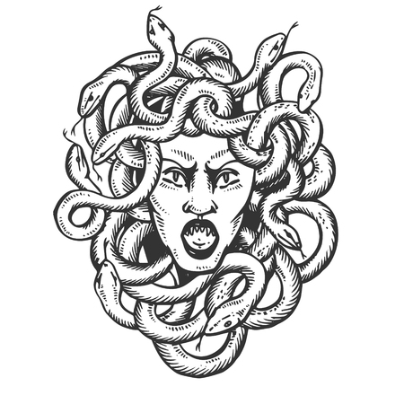 Medusa head with snakes greek myth creature engraving vector illustration. Scratch board style imitation. Black and white hand drawn image.