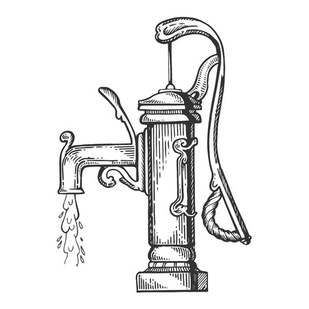 Standpipe engraving vector illustration