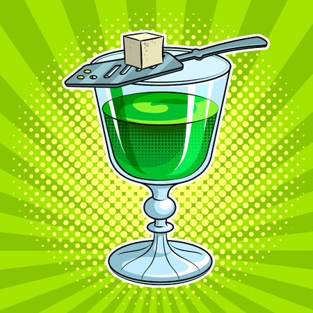 Absinthe green alcohol drink pop art vector