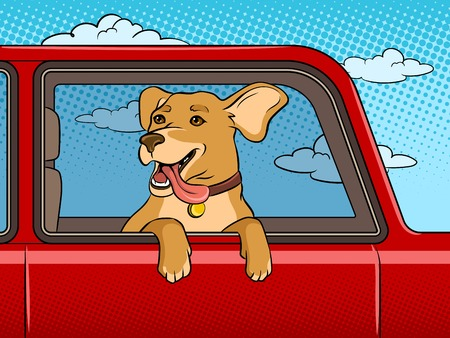 Dog in car window pop art vector illustration