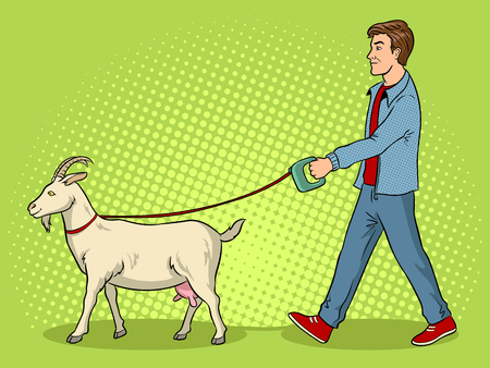Man and goat as pet pop art vector illustration
