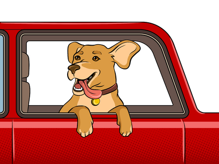 Dog head out of car window pop art retro vector illustration. Illustration