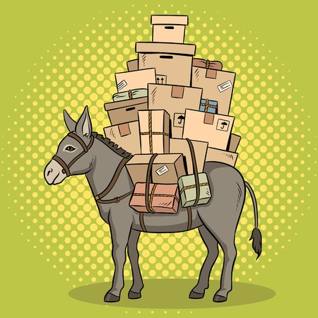 Donkey loaded parcels pop art vector illustration