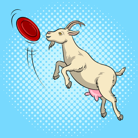 Goat catches frisbee flying disc pop art retro vector illustration. Comic book style imitation.
