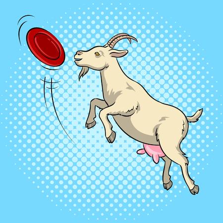 Goat catches frisbee flying disc pop art retro vector illustration. Comic book style imitation.