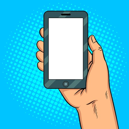 Smart phone with white blank screen pop art retro vector illustration. Comic book style imitation.