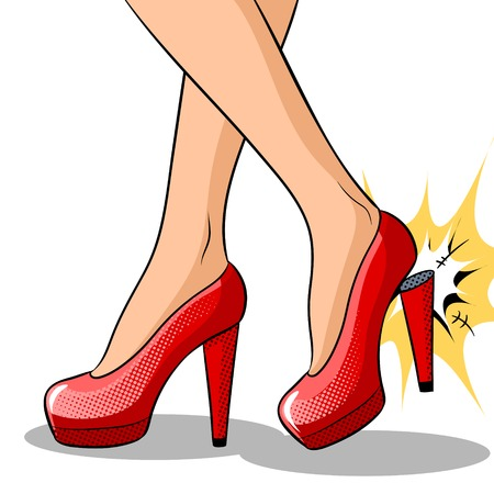 Woman broke heel on her red shoes pop art vector Stock Illustratie
