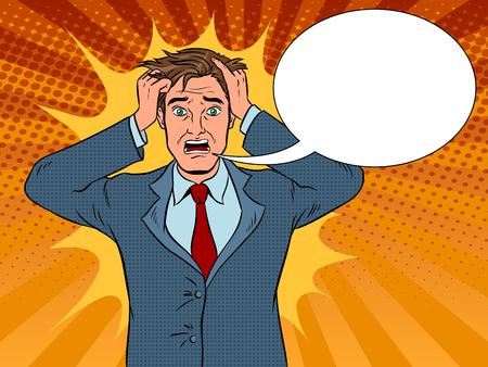 Uomo con panico emozione pop art illustrazione vettoriale