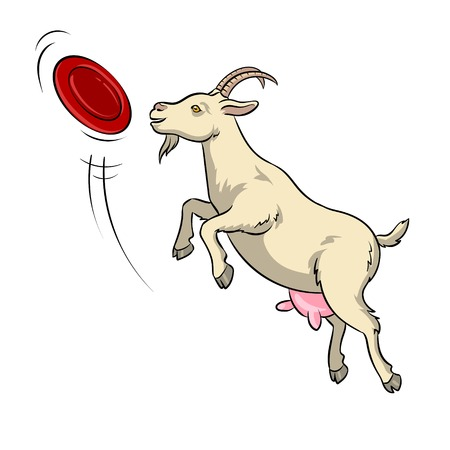 Goat catches frisbee disc pop art vector 版權商用圖片 - 100968734