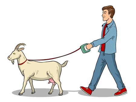 Man and goat as pet pop art vector illustration